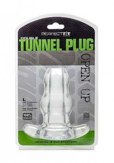 PERFECT FIT DOUBLE TUNNEL PLUG XL TRANSPARENTE