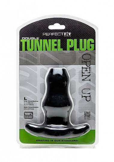 PERFECT FIT DOUBLE TUNNEL PLUG L NEGRO