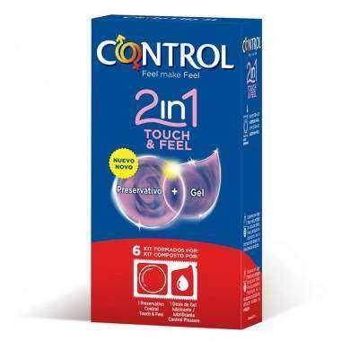 CONTROL 2 IN ONE TOUCH AND FEEL LUBRICANTE 6 UNIDADES