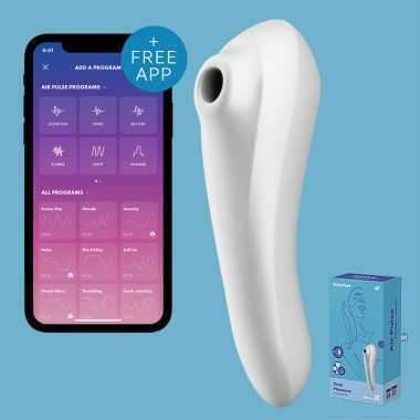 SATISFYER DUAL PLEASURE AIR PULSE BLANCO SUCCIONADOR APP
